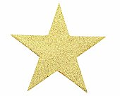 Five Pointed Gold Glitter Star On White Background