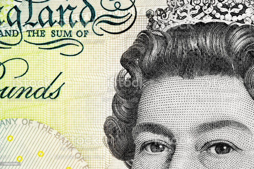 Five Pound Note - Queen Elizabeth II stock photo