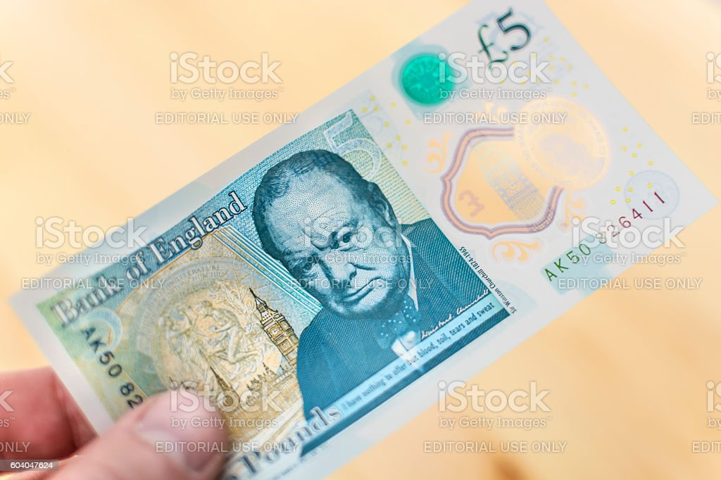 2016 UK Five Pound Note - Winston Churchill stock photo