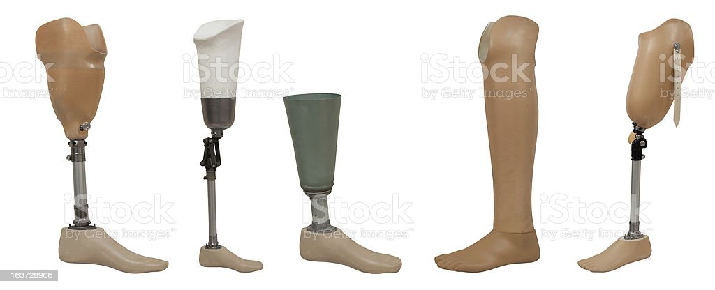 Five prosthetic leg isolated on a white background stock photo