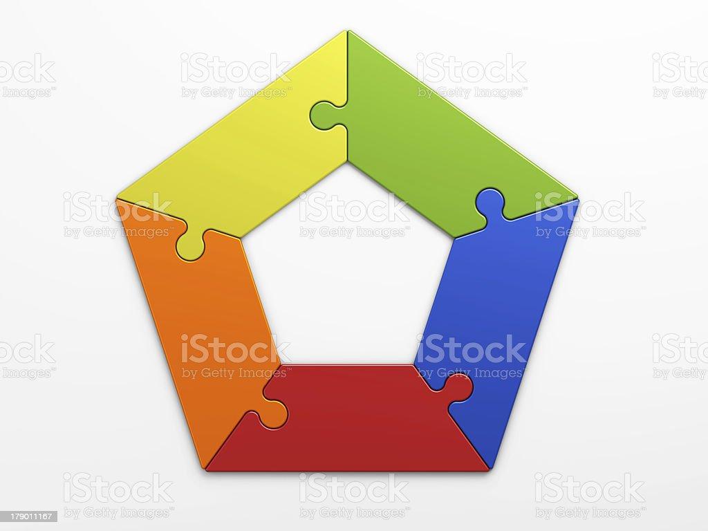 Five puzzle pieces making a pentagon stock photo