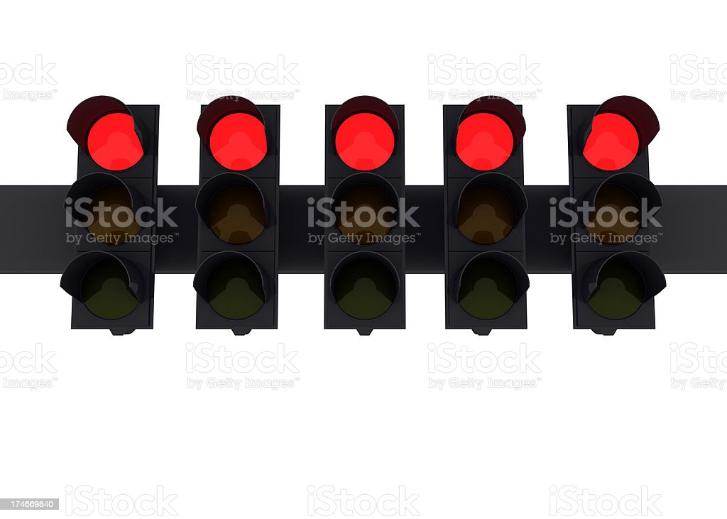 Five red lights royalty-free stock photo