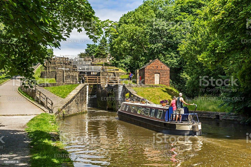 Five Rise Locks Bingley Yorkshire stock photo