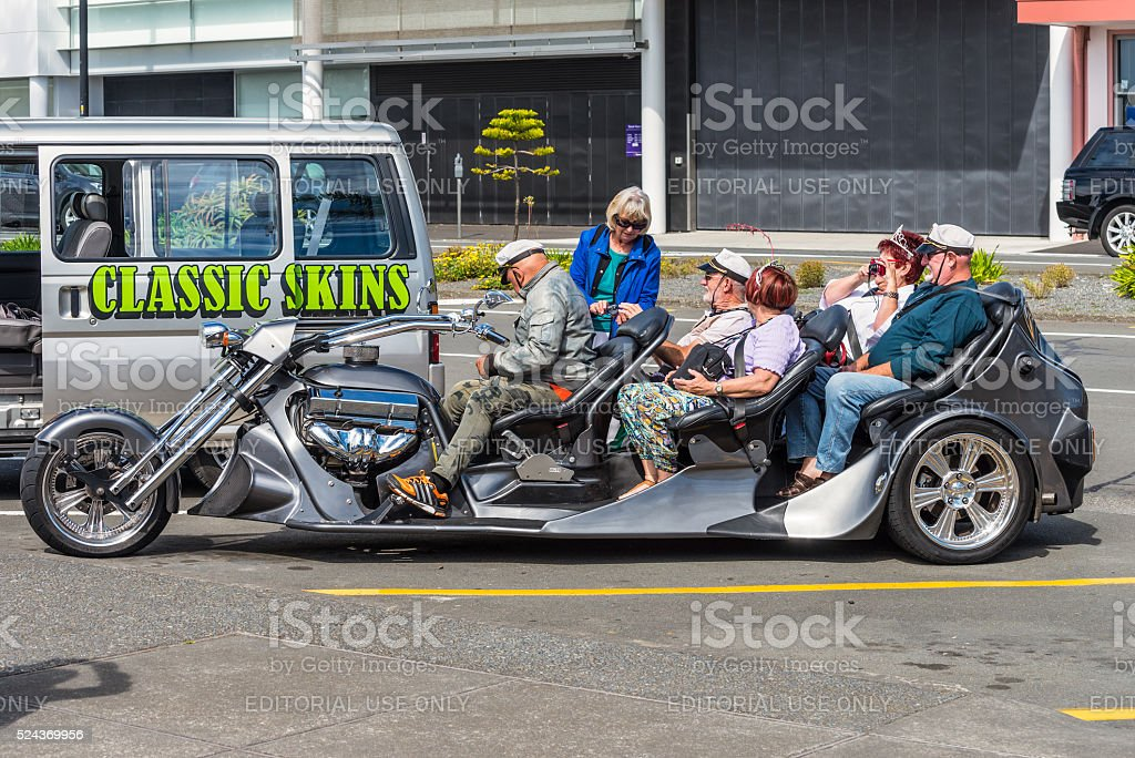 Five seater Trikey motorcycle seen in Napier New Zealand stock photo