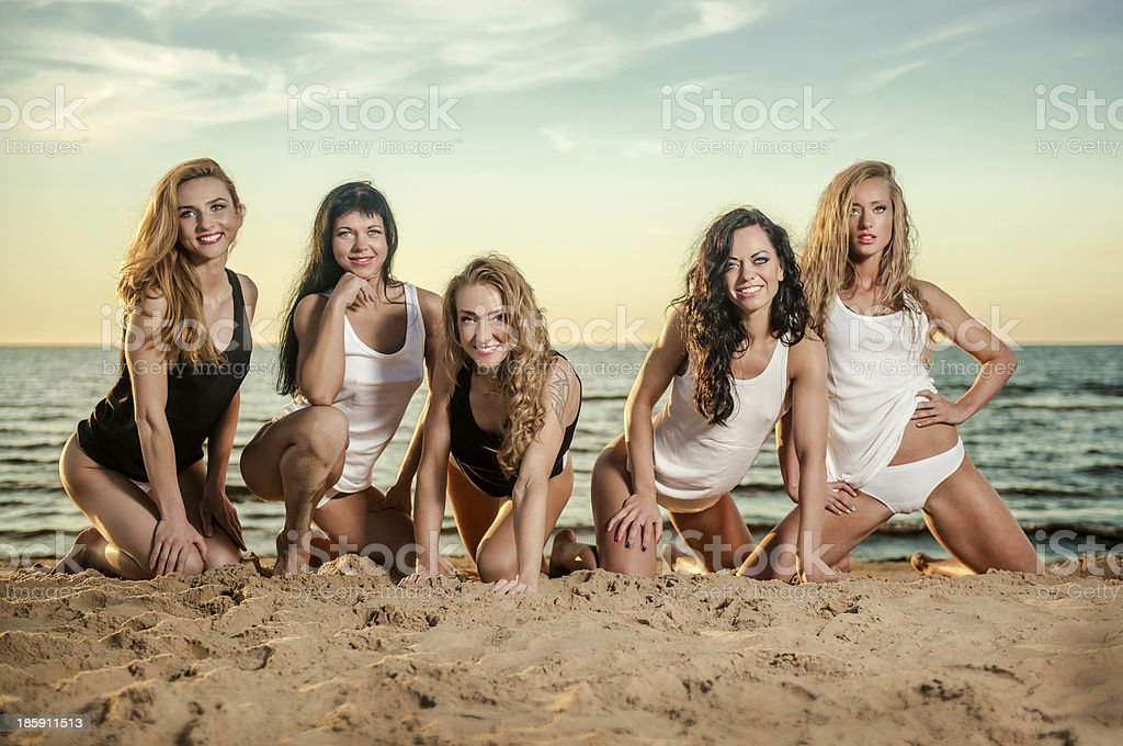 Five sexy ladies posing on the beach royalty-free stock photo
