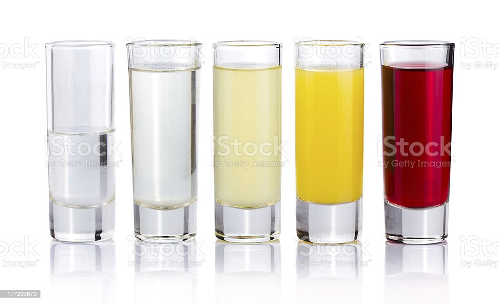 Five shot drink cocktails isolated on white royalty-free stock photo