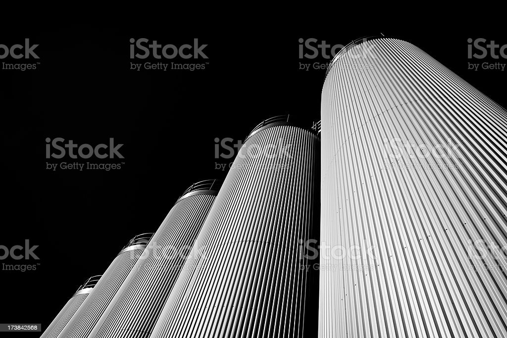 Five silo's in Black and White royalty-free stock photo