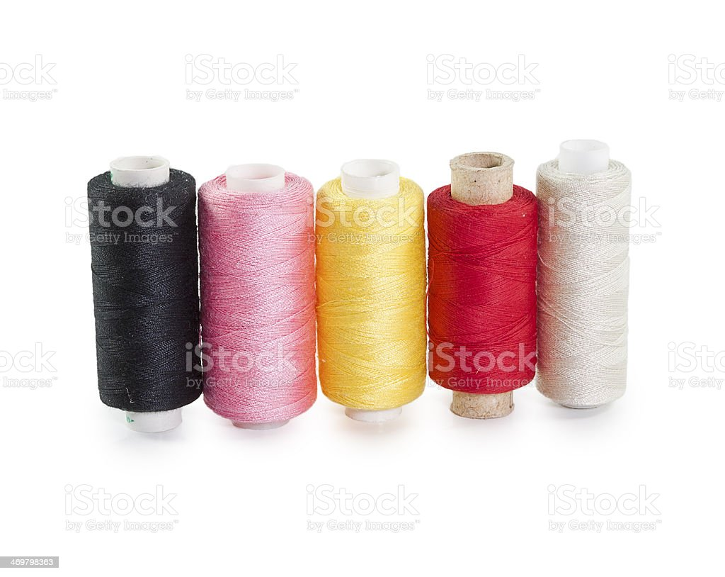 five skeins of yarn standing in a row royalty-free stock photo