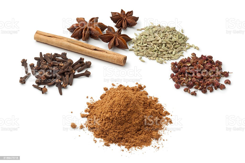 Five spices to make five-spice powder stock photo