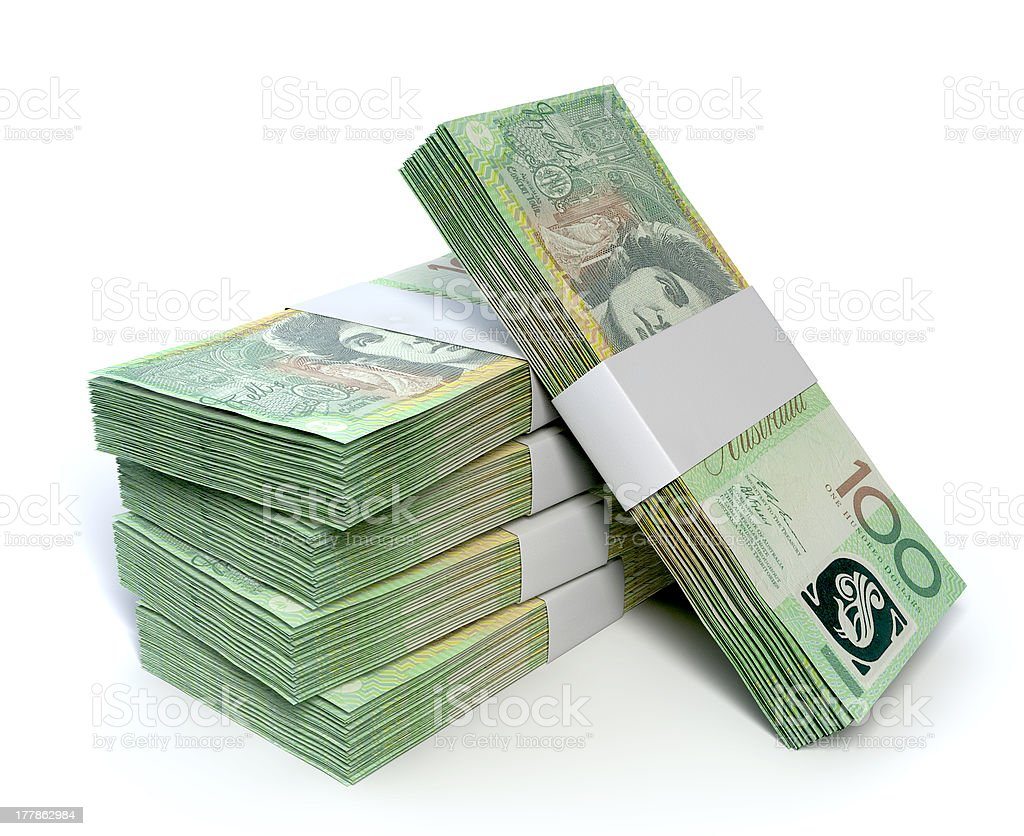 Five stacks of green Australian one hundred dollar bills stock photo