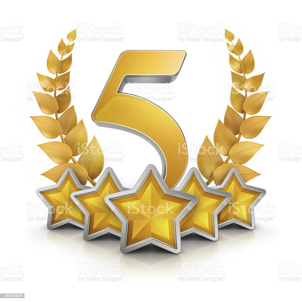 five star badge reward stock photo