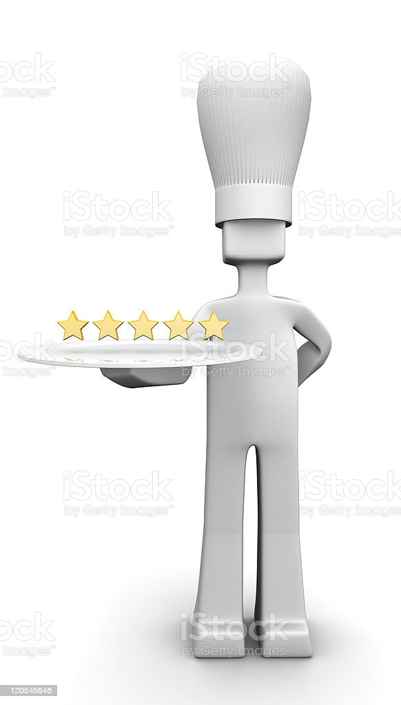 Five star restaurant chef serving guest concept stock photo
