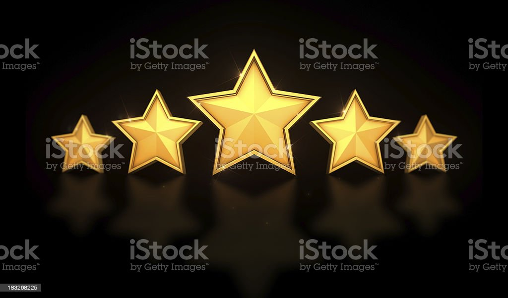 Five Stars in a line on black stock photo