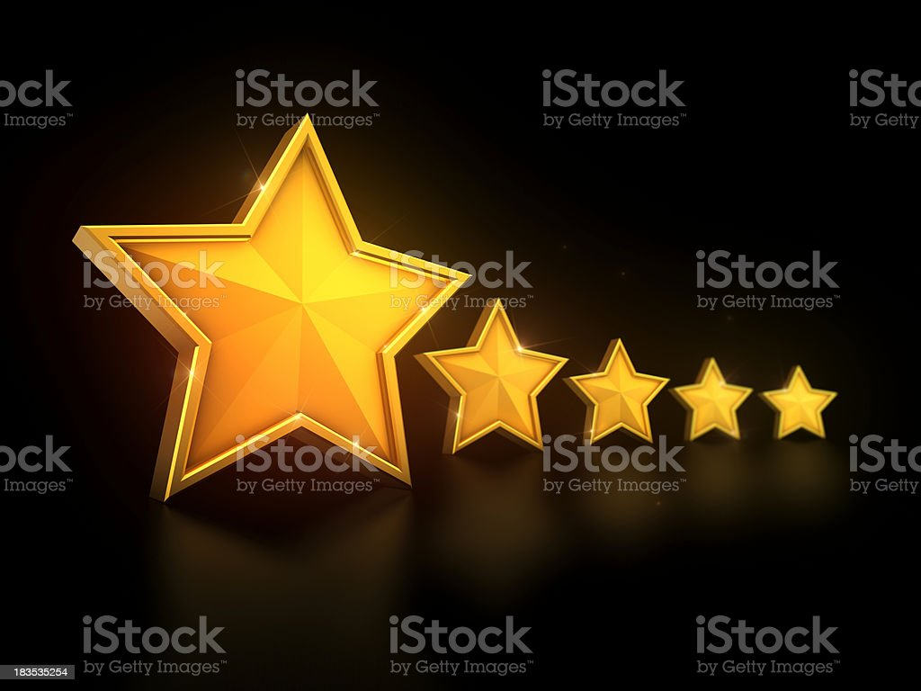 Five Stars in a line on black royalty-free stock photo