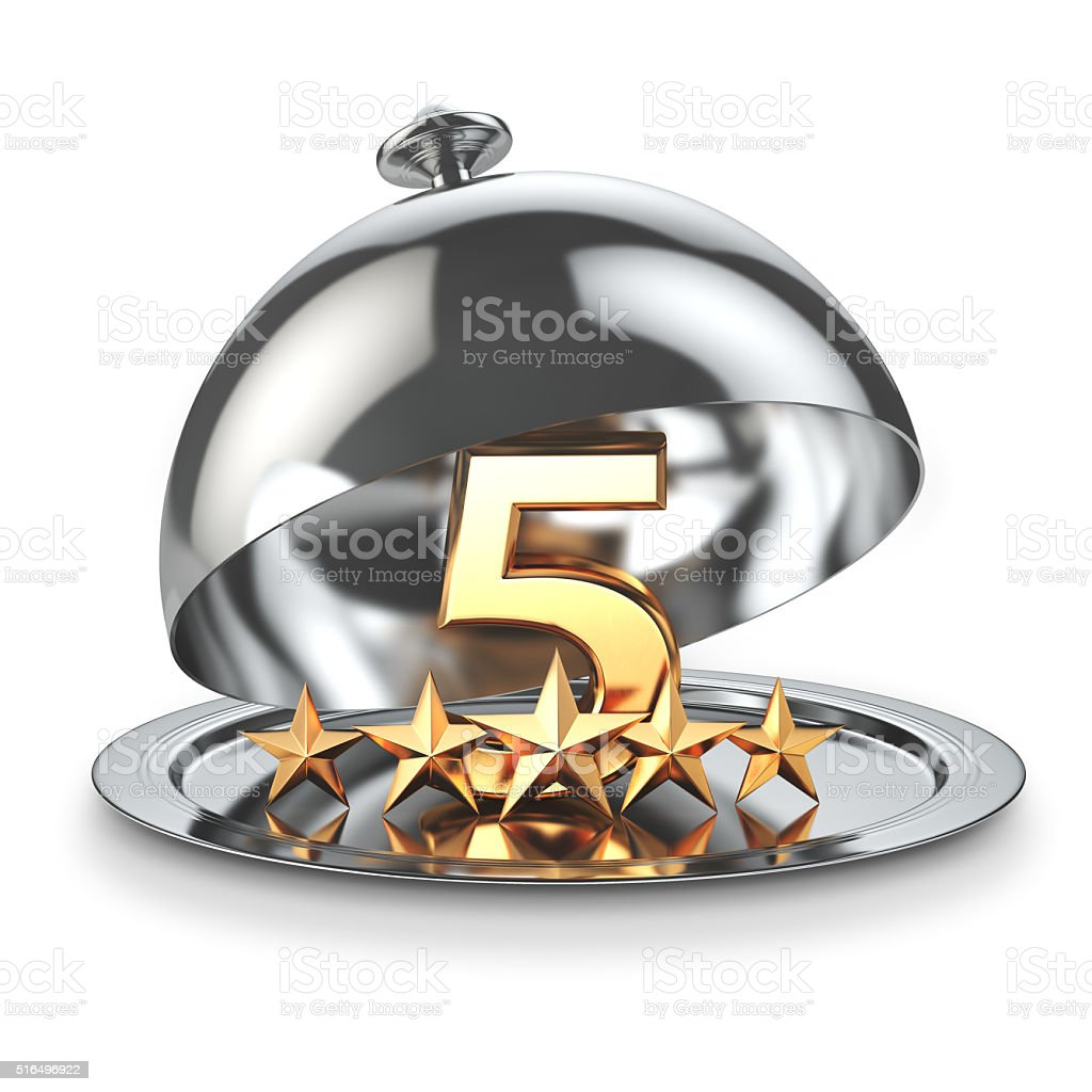 Five stars on cloche. Service rating concept of restaurant stock photo