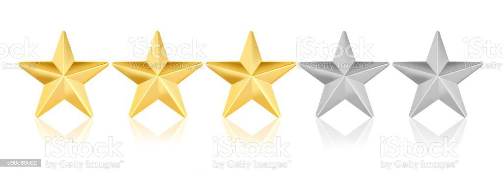 Five stars on white background stock photo