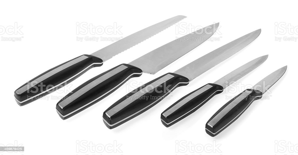 Five steel kitchen knives stock photo