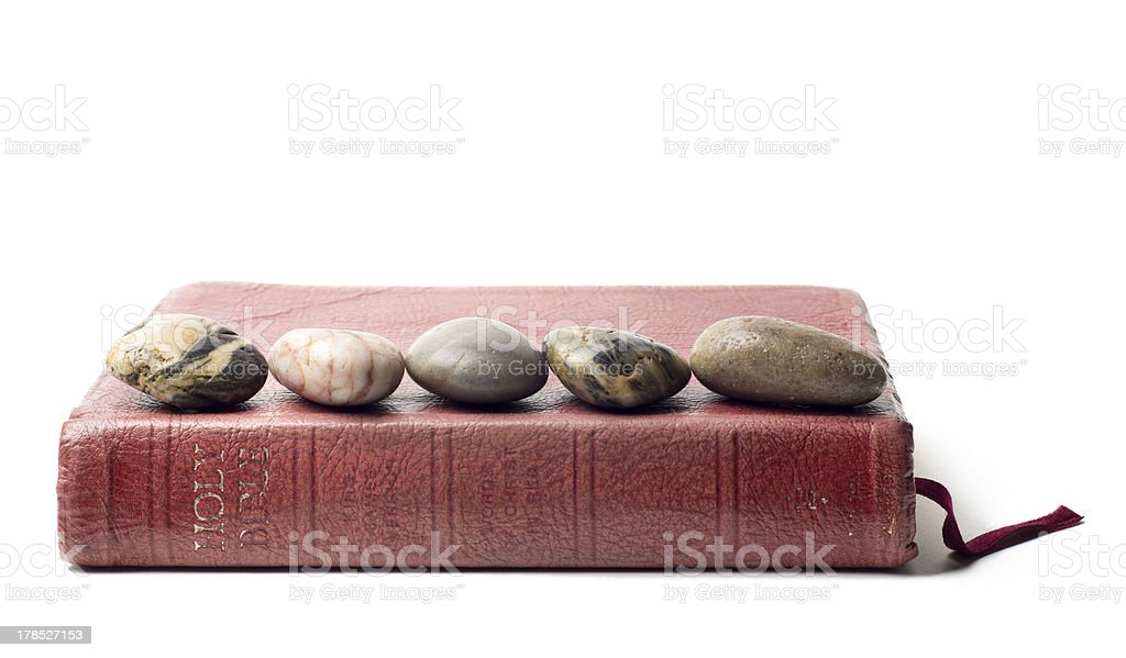Five Stones on a Bible stock photo