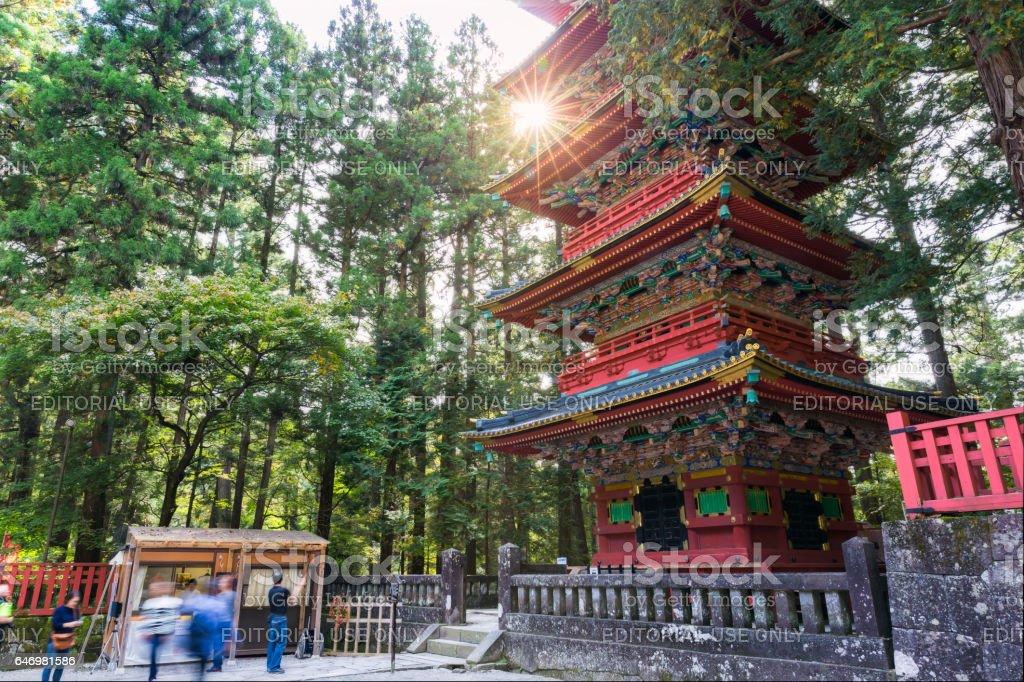 Five storey Pagoda at Toshogu shrine stock photo