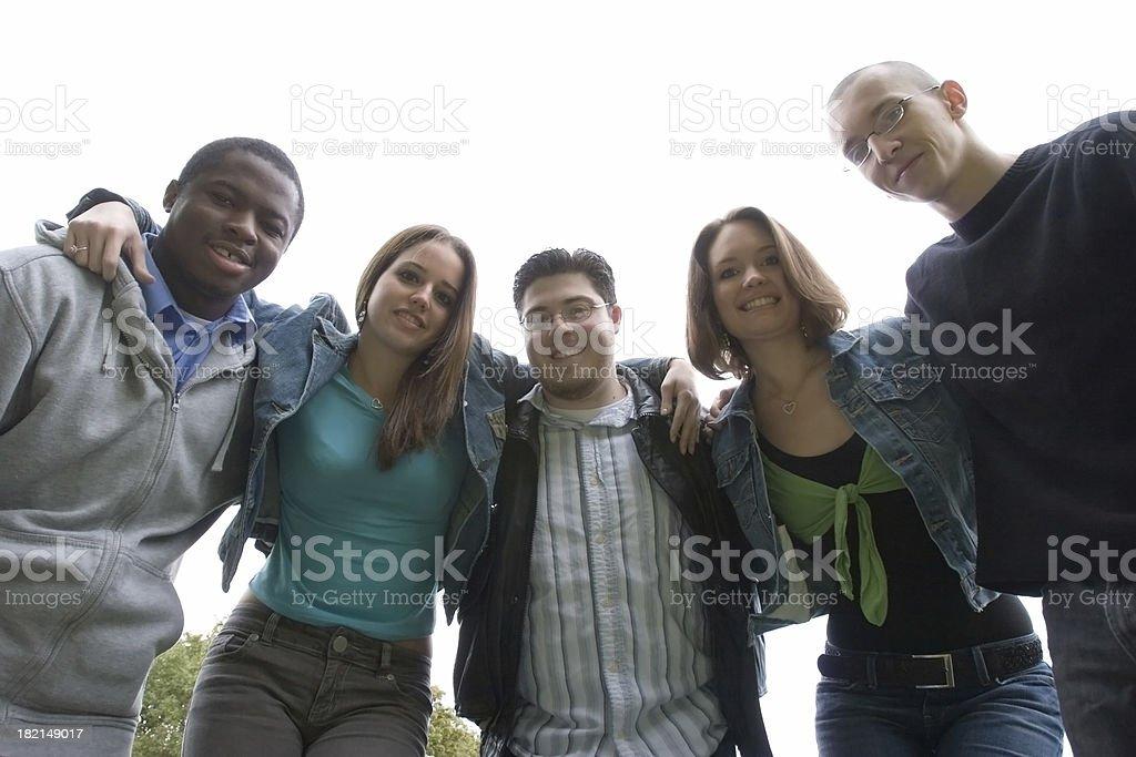 Five students stock photo