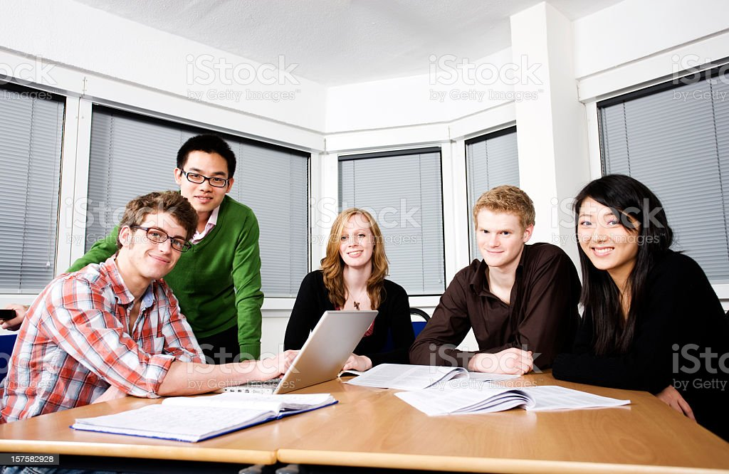 Five students studying royalty-free stock photo