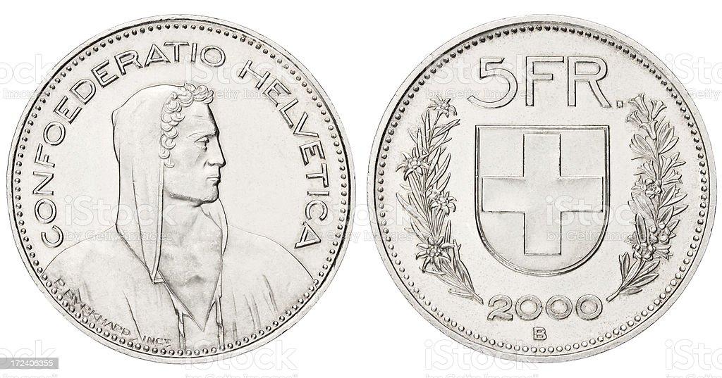 Five Swiss Franc stock photo