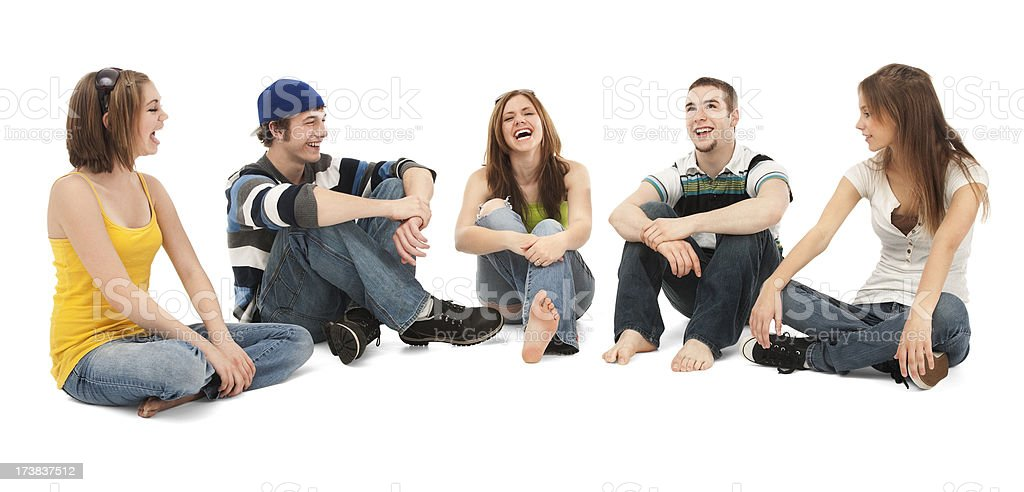 Five Teen Friends Laughing royalty-free stock photo