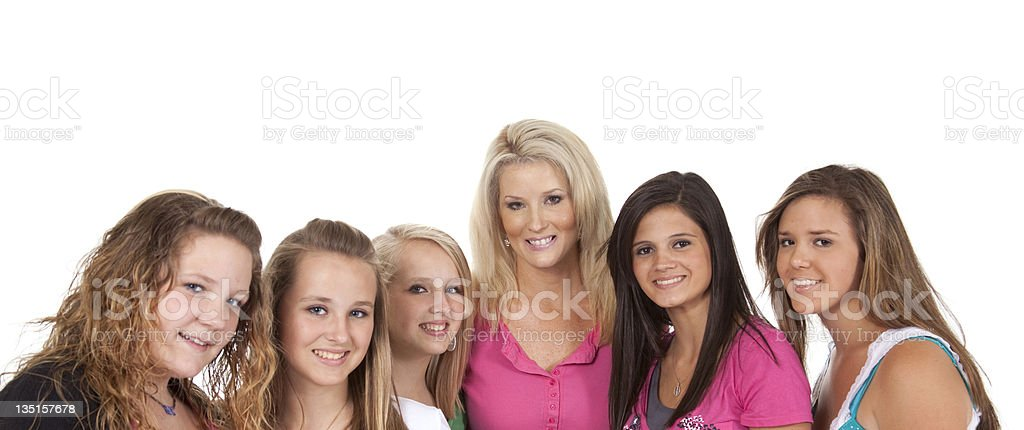 Five teenage girls and one adult woman royalty-free stock photo