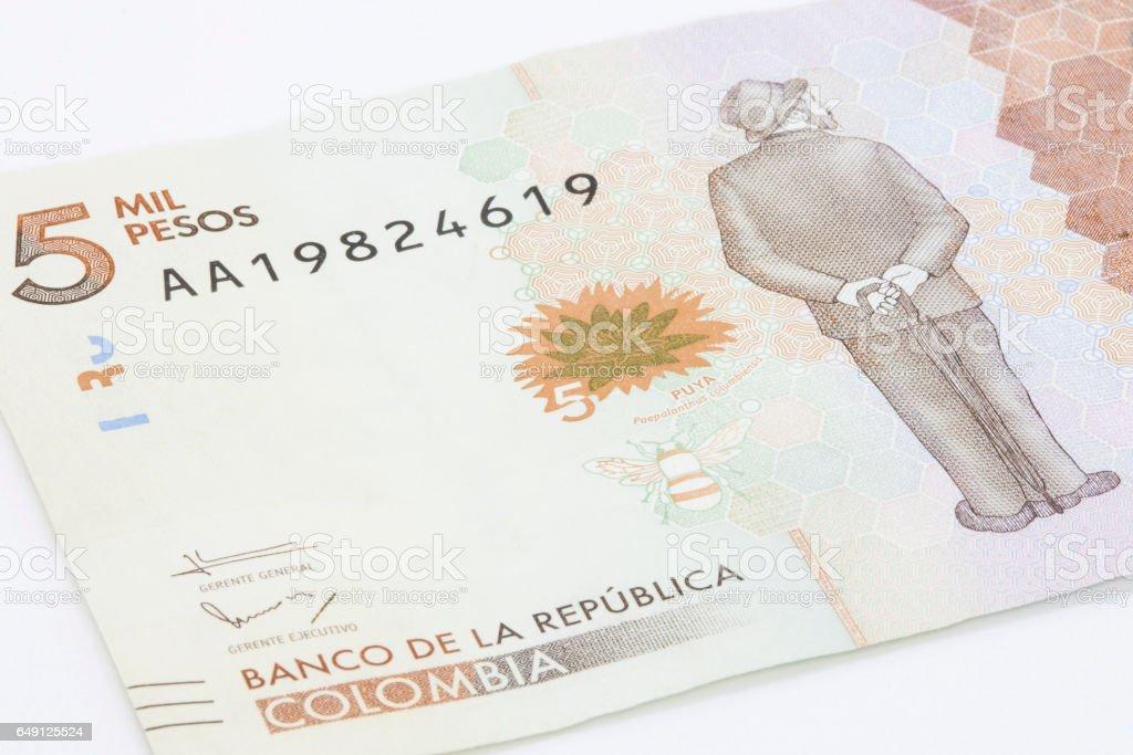 Five Thousand Colombian Pesos Bill stock photo