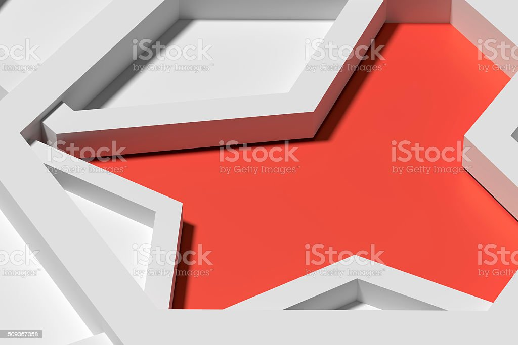 Five three-dimensional pentagons casting shadow stock photo