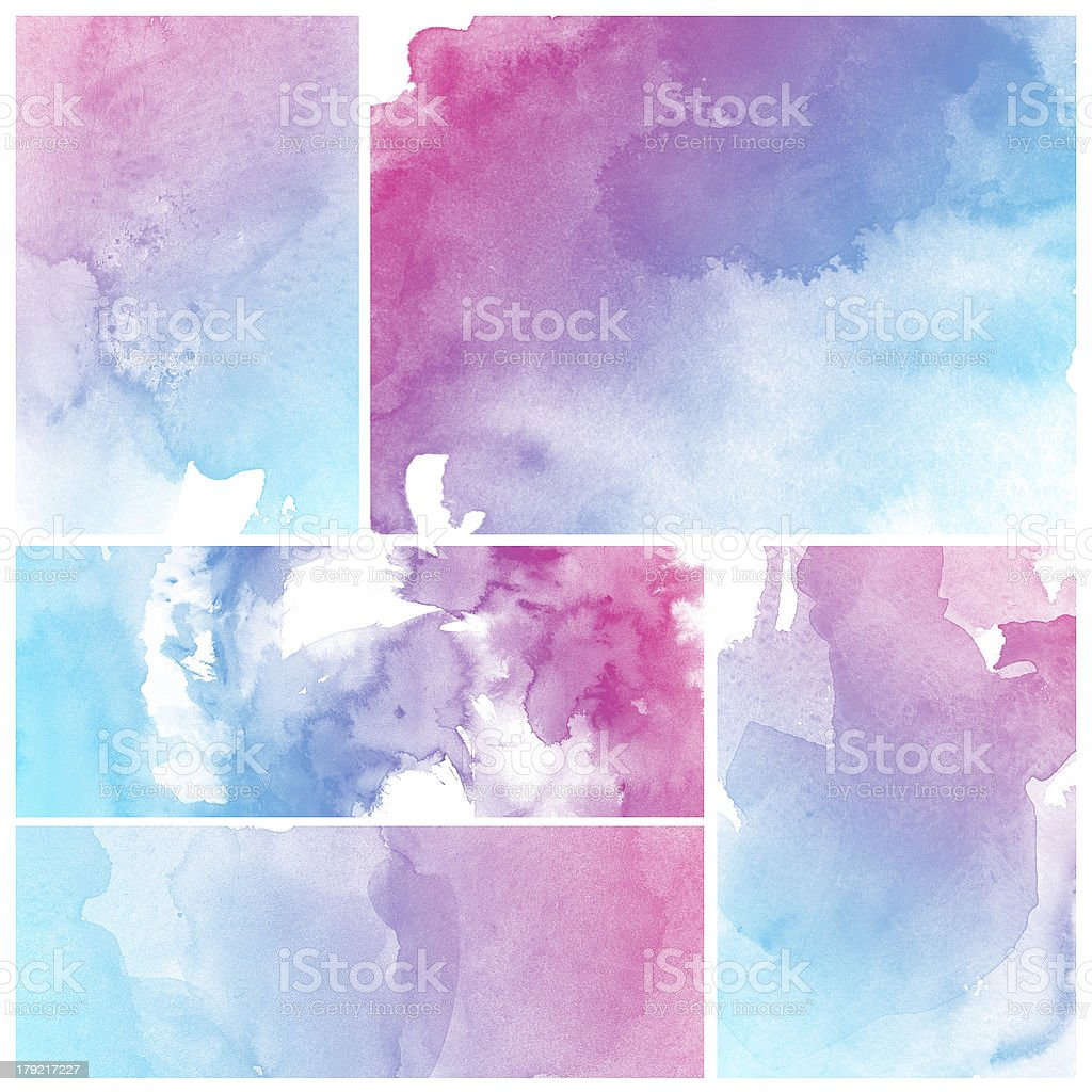 Five tiles with pink and blue watercolor wash design royalty-free stock photo