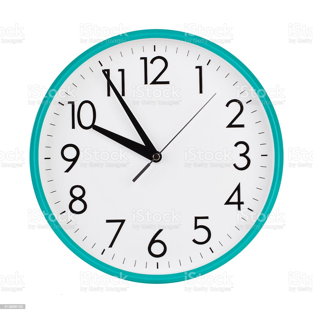 Five to ten on a round dial stock photo