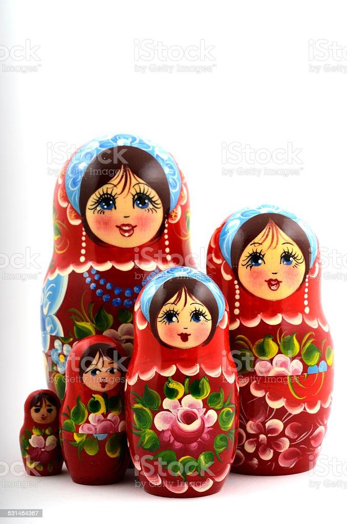 five traditional Russian matryoshka dolls stock photo