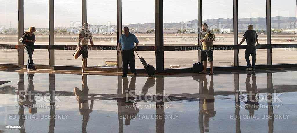 Five Travelers Waiting at the Windows royalty-free stock photo