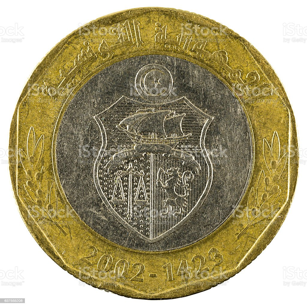 five tunisian dinar coin (2002) isolated on white background stock photo