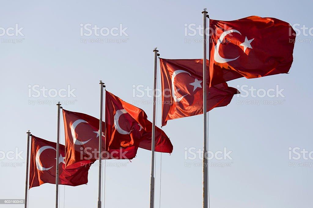 Five Turkish flags stock photo