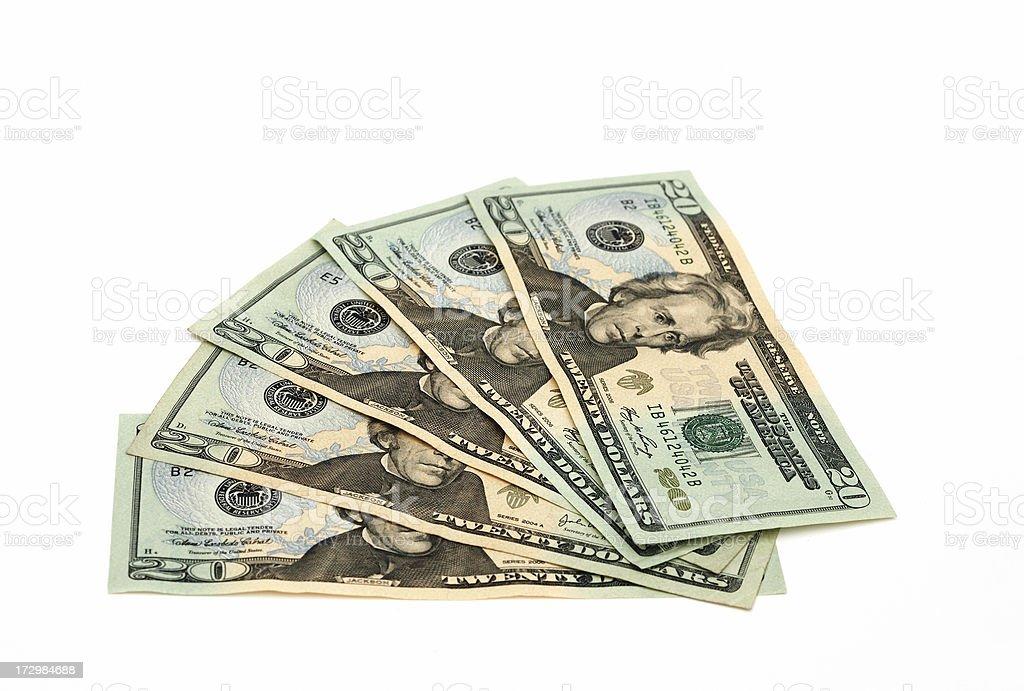Five Twenty Dollar Bills stock photo