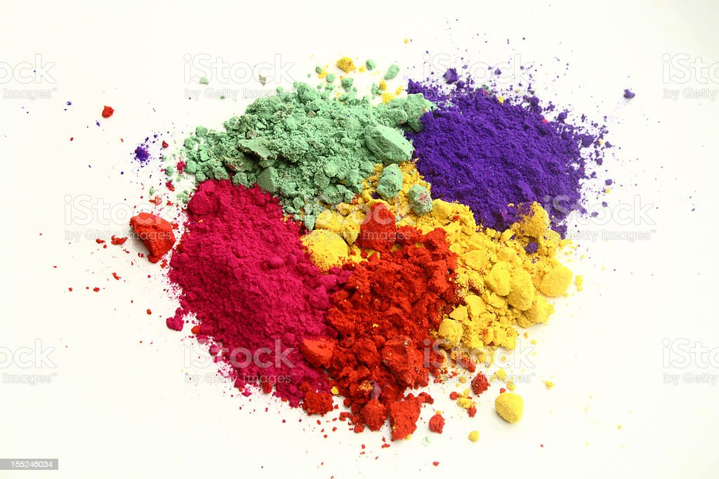 Five unmixed color pigments in powder form stock photo