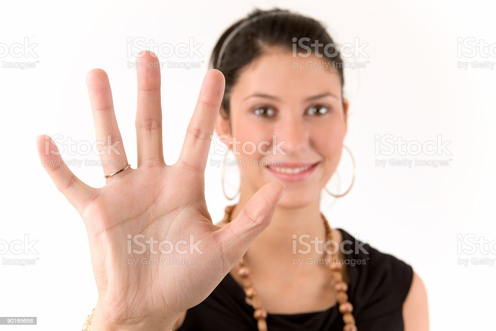Five Up ! Close Up of Hand stock photo