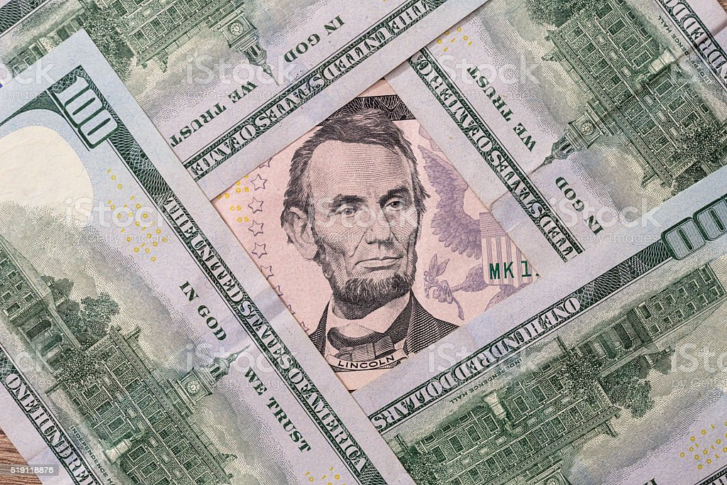 Five us dollar stock photo