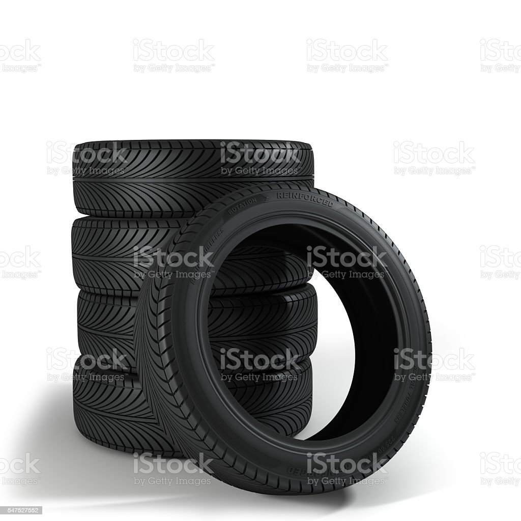 Five Wheels over the white background. Group of automotive tires stock photo