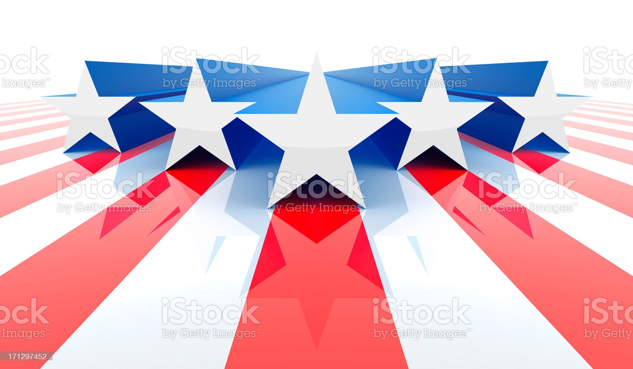 Five white and blue stars on red stripes for America royalty-free stock photo