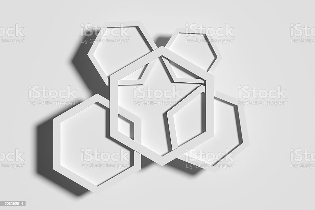 Five white hexagons crossed each other stock photo