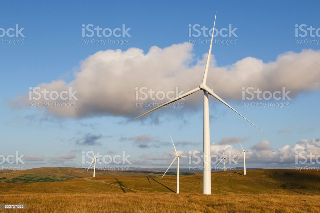 Five Wind Turbines stock photo