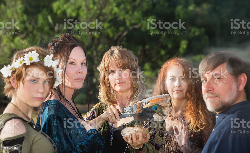 Five Witches with Feather stock photo