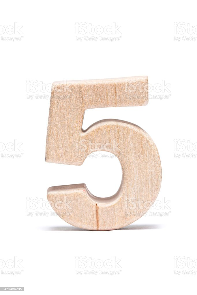 Five, wood number royalty-free stock photo