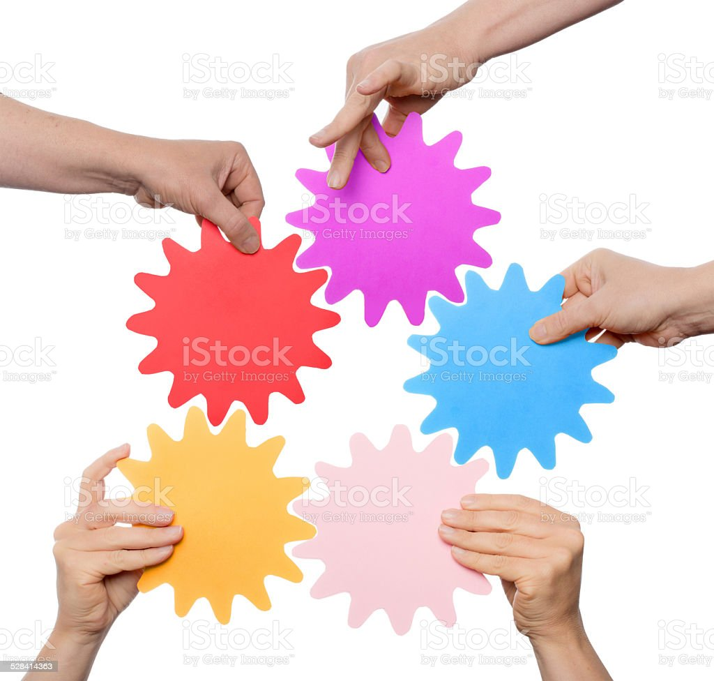 five working together stock photo