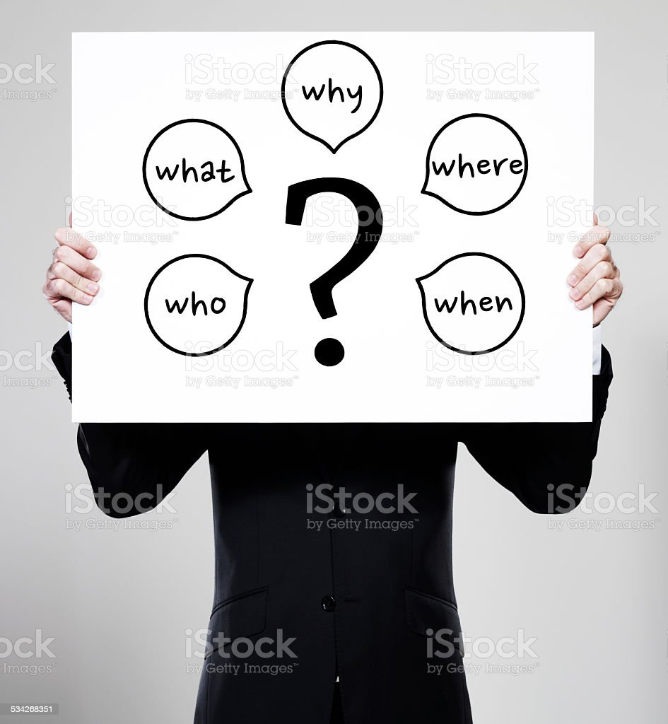 Five Ws - Question mark and questions starting with W stock photo