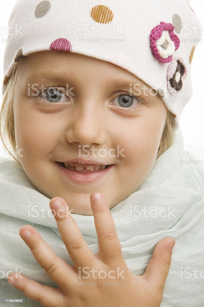 five year old girl in winter cap royalty-free stock photo