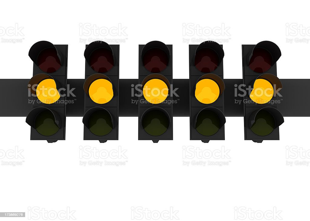 Five yellow lights royalty-free stock photo